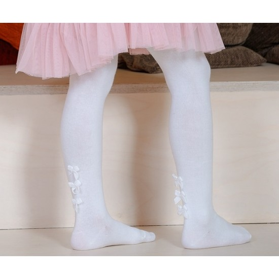 Puošnios baltos pėdklenės vaikams Kaspinėliai