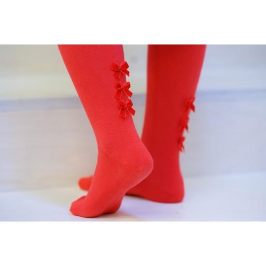 Puošnios raudonos pėdklenės vaikams Kaspinėliai