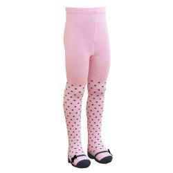 Puošnios rožinės taškuotos pėdklenės vaikams Kaspinėliai