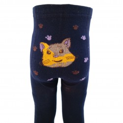 Šiltos pėdkelnės vaikams pliušinėmis kojytėmis Mėlynas katinėlis
