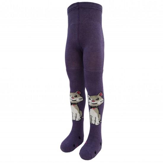 Šiltos pėdkelnės vaikams pliušinėmis kojytėmis Violetinis katinėlis