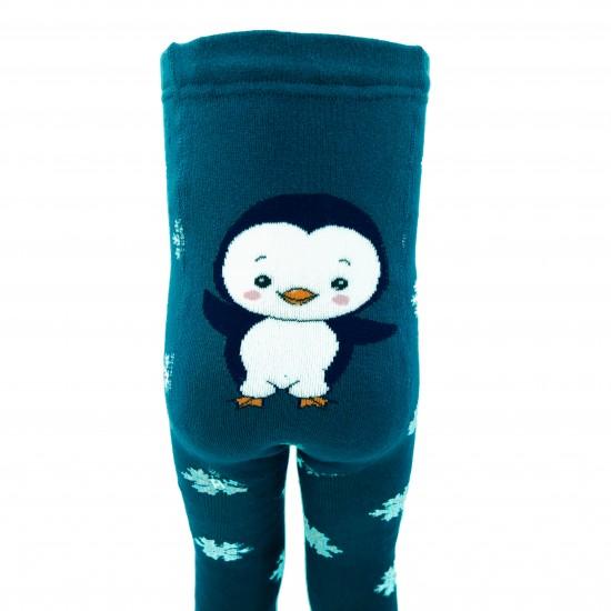 Šiltos pliušinės pėdkelnės vaikams Mėlynas pingvinas