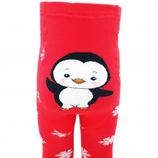 Šiltos pliušinės pėdkelnės vaikams Raudonas pingvinas