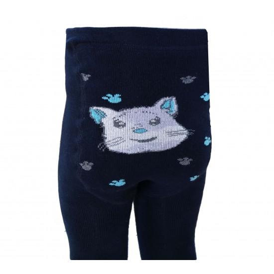 Šiltos pliušinės pėdkelnės vaikams Tamsiai mėlynas katinėlis
