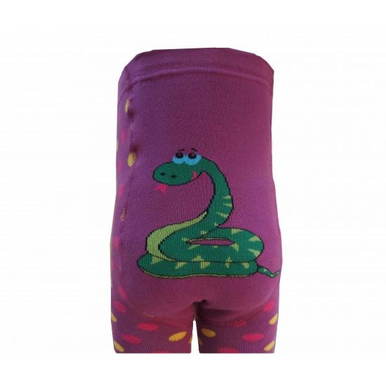 Šiltos pliušinės pėdkelnės vaikams Violetinė gyvatėlė