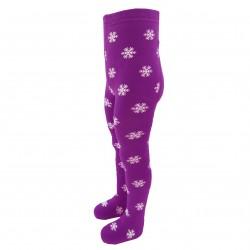Gumuotais padukais šiltos pliušinės pėdkelnės vaikams violetinis Pingvinas