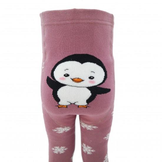 Gumuotais padukais šiltos pliušinės pėdkelnės vaikams rozenhold Pingvinas