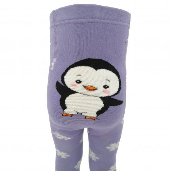Gumuotais padukais šiltos pliušinės pėdkelnės vaikams šviesiai violetinis Pingvinas