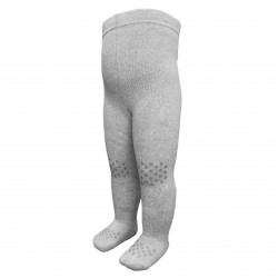 Gumuotos pliušinės pėdkelnės ropojantiems kūdikiams Šviesiai pilkas melanžas