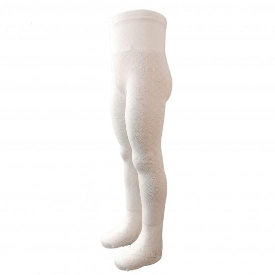 Baltos pėdkelnės vaikams Kiauri rombai