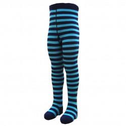 Dryžuotos pėdkelnės vaikams Tamsiai mėlyna turkis