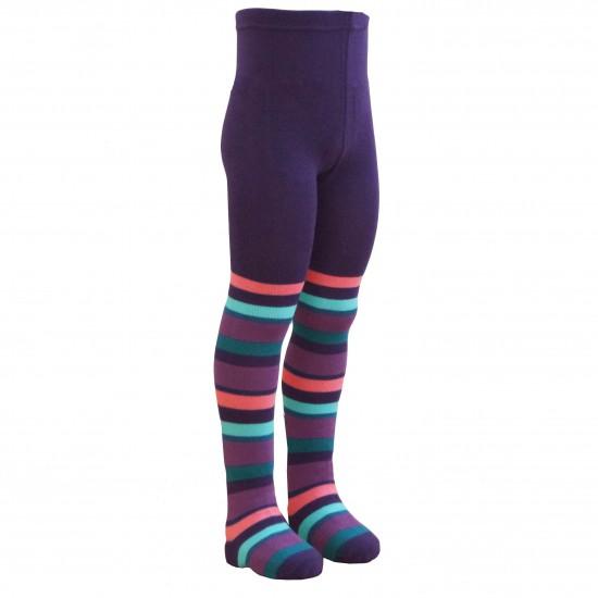 Violetinės pėdkelnės vaikams Spalvotos juostelės