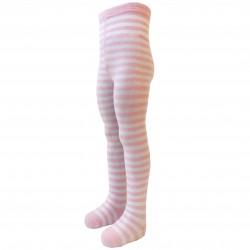Dryžuotos pėdkelnės vaikams Balta šviesiai rožinė