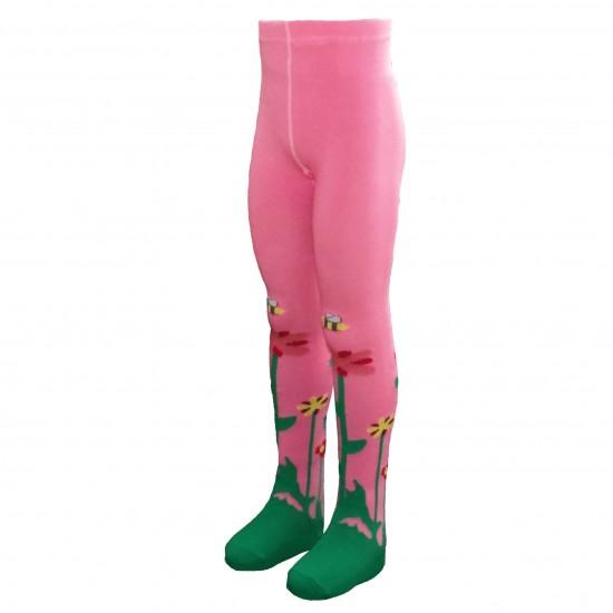 Rožinės pėdkelnės vaikams Tulpės