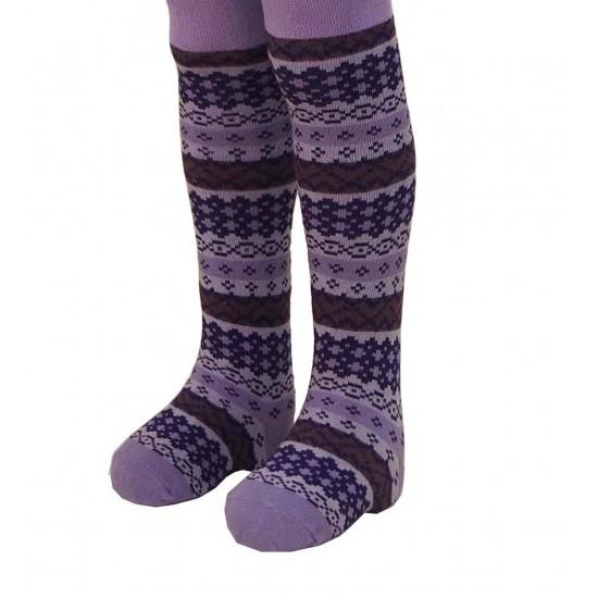 Violetinės pėdkelnės vaikams Ornamentai
