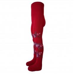 Šiltos 50% Merino vilnos pėdkelnės vaikams Raudonos rožės