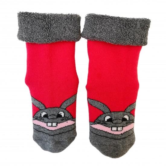 Šiltos pliušinės kojinės rožinis Zuikis