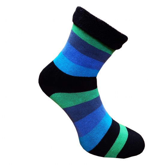 Šiltos pliušinės kojinės Plačios juostos žalia mėlyna