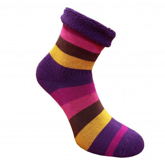 Šiltos pliušinės kojinės Plačios juostos tamsiai violetinė ruda