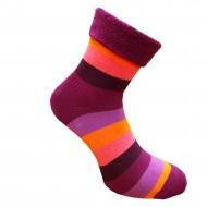 Šiltos pliušinės kojinės Plačios juostos rožinė violetinė