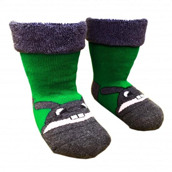Šiltos pliušinės kojinės žalias Zuikis