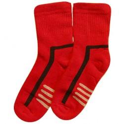 Šiltos pliušinės kojinės raudoni Raštai