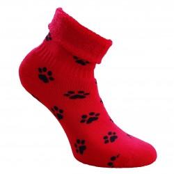 Šiltos pliušinės kojinės raudonos Pėdutės