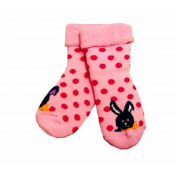 Šiltos pliušinės kojinės rožiniai Taškai