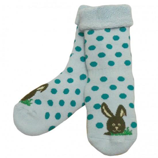 Šiltos pliušinės kojinės šviesiai mėlyni Taškai