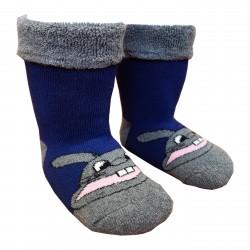 Gumuotais padais šiltos pliušinės kojinės mėlynas Zuikis