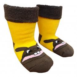 Gumuotais padais šiltos pliušinės kojinės geltonas Zuikis