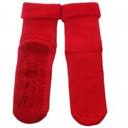 Gumuotais padais šiltos pliušinės kojinės Raudona