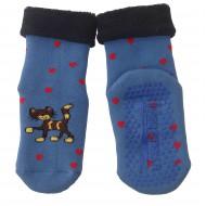 Gumuotais padais šiltos pliušinės kojinės mėlynas Katinėlis
