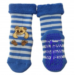Gumuotais padais šiltos pliušinės kojinės mėlynas Meškiukas