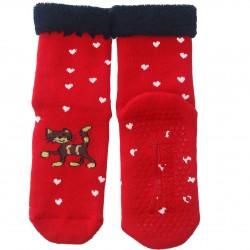 Gumuotais padais šiltos pliušinės kojinės raudonas Katinėlis