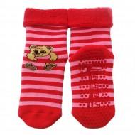 Gumuotais padais šiltos pliušinės kojinės raudonas Meškiukas