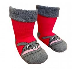 Gumuotais padais šiltos pliušinės kojinės rožinis Zuikis