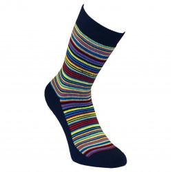 Gumuotais padais šiltos pliušinės kojinės tamsiai mėlynos Juostelės
