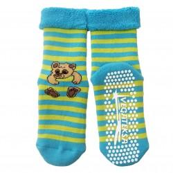 Gumuotais padais šiltos pliušinės kojinės turkio spalvos Meškiukas
