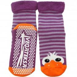 Gumuotais padais šiltos pliušinės kojinės violetinės Akutės