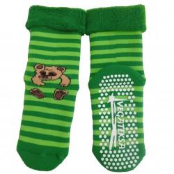 Gumuotais padais šiltos pliušinės kojinės žalias Meškiukas