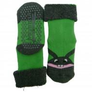 Gumuotais padais šiltos pliušinės kojinės Zuikis (žalia)