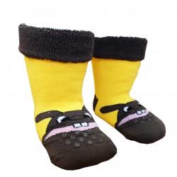 Gumuotos pliušinės kojinės ropojantiems kūdikiams geltonas Zuikis