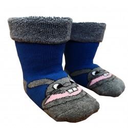 Gumuotos pliušinės kojinės ropojantiems kūdikiams mėlynas Zuikis