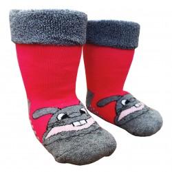 Gumuotos pliušinės kojinės ropojantiems kūdikiams rožinis Zuikis