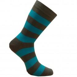 Dryžuotos kojinės Plačios juostos (Tamsiai ruda mėlyna)