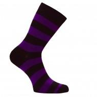Dryžuotos kojinės Plačios juostos (Tamsiai violetinė juoda)