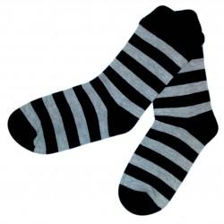 Dryžuotos kojinės juodos ir šviesiai pilkos Platesnės juostelės