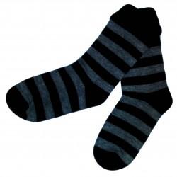 Dryžuotos kojinės juodos ir tamsiai pilkos Platesnės juostelės
