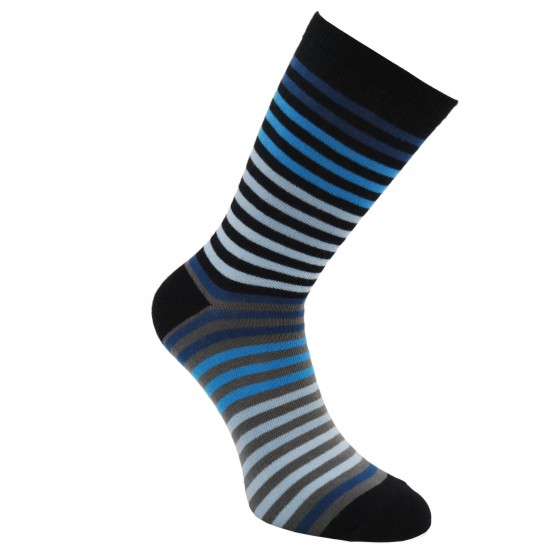 Spalvotos kojinės Smulkios juostelės (Juoda mėlyna)